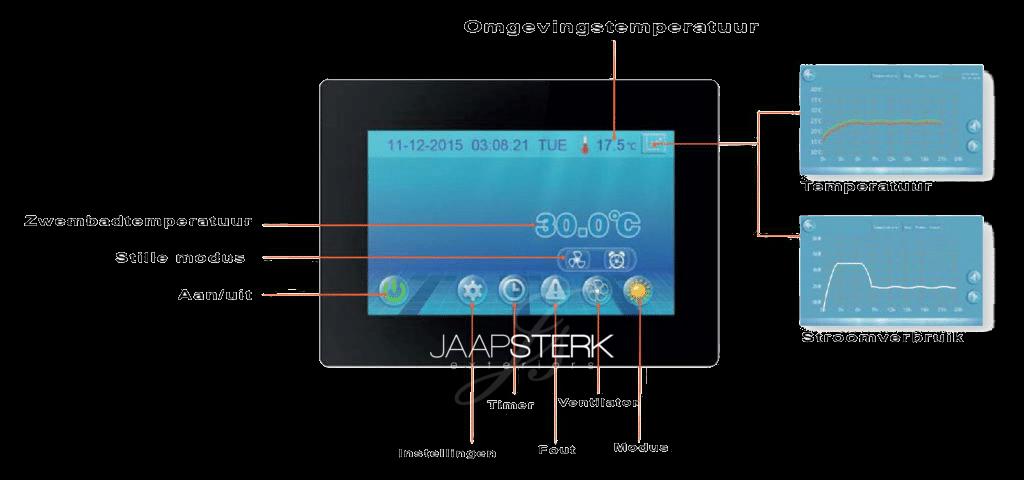 Zwemvijver warmtepomp full-inverter verticaal screen