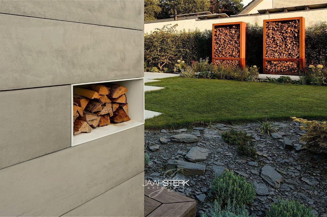 Moderne en strakke tuinarchitectuur houtopslag